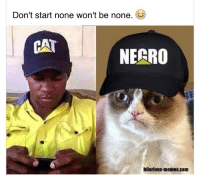 Shots fired: Don't start none won't be none.  CAT  NECRO  hilarious-memes.com Shots fired