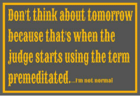 premeditated: Don't think about tomorrow  because thats when the  judge starts using the term  premeditated.  I'm not normal