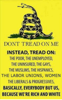 Pretty much where things are right now ...: DONT TREAD ON ME  INSTEAD, TREAD ON:  THE POOR, THE UNEMPLOYED,  THE UNINSURED THEGAYS,  THEMUSLIMS, THE HISPANICS,  THE LABOR UNIONS, WOMEN  THE LIBERALS & PROGRESSIVES,  BASICALLY, EVERYBODY BUT US,  BECAUSE WE'RE RICH AND WHITE Pretty much where things are right now ...