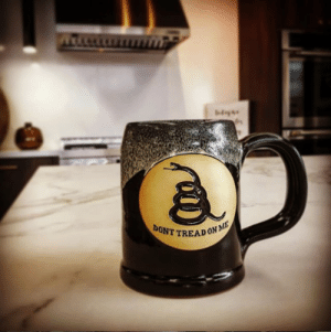 Memes, Coffee, and Back: DONT TREADO Check it out, our Gadsden Tankard is finally back in stock! #Wooooooo #ricflairvoice #coffee #coffeemug #1776united 📸 @acharles11