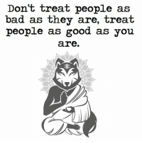 Bad, Memes, and Good: Don't treat people as  bad as they are, treat  people as good as you  are. Higher Perspective via Aware Wolf