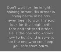Memes, How To, and Never: Don't wait for the knight in  shining armor. His armor is  shiny because he has  never been to war. Instead,  look for the knight with  torn and tattered armor.  He is the one who knows  how to fight and is sure to  be the one who can keep  you safe from harm.