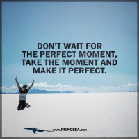 Truthfully, there is no such thing as waiting for the perfect time. You have to create the perfect time, because being successful or doing something you love doesn't just fall in your lap. It requires you to take a leap of faith even when you may not be comfortable.: DON'T WAIT FOR  THE PERFECT MOMENT,  TAKE THE MOMENT AND  MAKE IT PERFECT.  Www.PRINCEEA.cOM Truthfully, there is no such thing as waiting for the perfect time. You have to create the perfect time, because being successful or doing something you love doesn't just fall in your lap. It requires you to take a leap of faith even when you may not be comfortable.