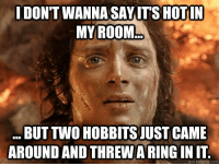 Meme, Memes, and 🤖: DONT WANNA SAY ITS HOTIN  MY ROOM  BUT TWO HOBBITSJUSTCAME  AROUND AND THREWARINGINIT  quick meme com