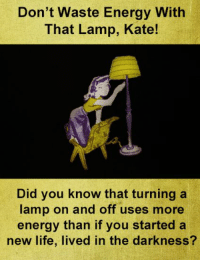 Energy, Life, and Memes: Don't Waste Energy With  That Lamp, Kate!  Did you know that turning a  lamp on and off uses more  energy than if you started a  new life, lived in the darkness? Great tip.  How will you save energy?