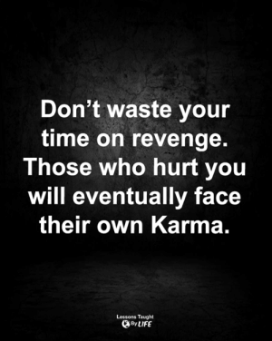 Life, Memes, and Revenge: Don't waste your  time on revenge.  Those who hurt you  will eventually face  their own Karma.  Lessons Taught  By LIFE <3