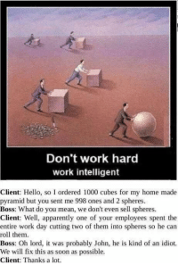 Apparently, Hello, and Memes: Don't work hard  work intelligent  Client: Hello, so I ordered 1000 cubes for my home made  pyramid but you sent me 998 ones and 2 spheres  Boss: What do you mean, we don't even sell spheres.  Client: Well, apparently one of your employees spent the  entire work day cutting two of them into spheres so he can  roll them  Boss: Oh lord, t was probably John, he is kind of an idiot.  We will fix this as soon as possible.  Client: Thanks a lot.  eni Thats so good via /r/memes https://ift.tt/2E5e7Qf