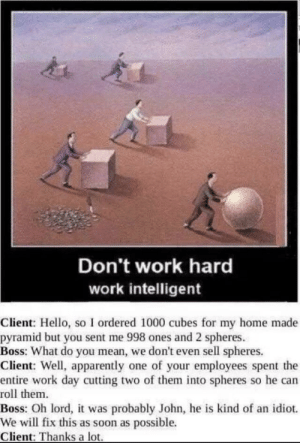 John do your damn job by Hawk7743 MORE MEMES: Don't work hard  work intelligent  Client: Hello, so I ordered 1000 cubes for my home made  pyramid but you sent me 998 ones and 2 spheres  Boss: What do you mean, we don't even sell spheres.  Client: Well, apparently one of your employees spent the  entire work day cutting two of them into spheres so he can  roll them  Boss: Oh lord, it was probably John, he is kind of an idiot.  We will fix this as soon as possible.  Client: Thanks a lot John do your damn job by Hawk7743 MORE MEMES