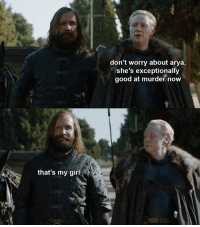 The Hound, Girl, and Good: don't worry about arya,  she's exceptionally  good at murder now  that's my girl Another reunion I want is The Hound and Arya #GameOfThrones https://t.co/iKwd5x9JRO