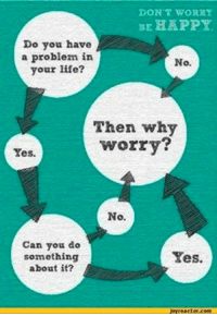 Life, Happy, and Be Happy: DON'T WORRY  BE HAPPY.  Do you have  a problem in  No.  your life?  Then why  worry?  Yes.  No.  Can you do  Yes.  something  about it? This is something you should always remember whenever you worry about something about which you can or can't do something :)