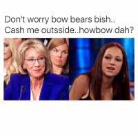 Captioned by @manic_pixies Politics Ignorance WeFucked PoliticsHumor: Don't worry bow bears bish  Cash me outsside..howbow dah? Captioned by @manic_pixies Politics Ignorance WeFucked PoliticsHumor