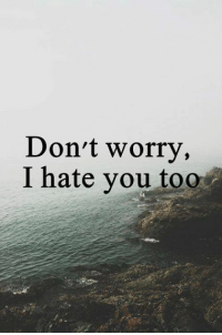 For real.: Don't worry,  I hate you too For real.