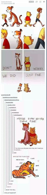 Yeah, Good, and Hell: DON'T  WORRY  WE DID  JUST FINE  MAYBE EVEN BETTER  THAN FINE  You know you did great when they don't need you  SOB  WAY BETTER THAN FINE  o yeah  MM M YEAH  gasp  good  make  oh  yes  what  WHAT  WHY  WHAT THE HELL  what just happened? pooh and hobbes (fixed)