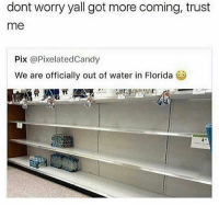 Memes, Florida, and Water: dont worry yall got more coming, trust  me  Pix @PixelatedCandy  We are officially out of water in Florida 😅😳🤦‍♂️ (@thebraintickle)