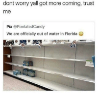 Blackpeopletwitter, Florida, and Water: dont worry yall got more coming, trust  me  Pix @PixelatedCandy  We are officially out of water in Florida 0 <p>this tweet was very shallow (via /r/BlackPeopleTwitter)</p>