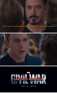 "America, Memes, and Tumblr: Don't you think these Civil War Memes are getting old?   MARVEL  CAPTAIN AMERICA  MAY 6, 2O 1 6 <p><a class=""tumblr_blog"" href=""http://professorthorgi.tumblr.com/post/108320286233/darn-it-tony-you-just-have-to-ruin-all-our-fun"">professorthorgi</a>:</p> <blockquote> <p>Darn it Tony, you just have to ruin all our fun don't ya</p> </blockquote>"