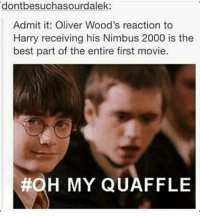 ~Winglock: dontbesuchasourdalek:  Admit it: Oliver Wood's reaction to  Harry receiving his Nimbus 2000 is the  best part of the entire first movie.  #OH MY QUAFFLE ~Winglock