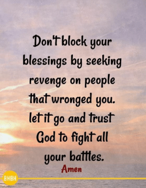 God, Memes, and Revenge: Dontblock your  olessings loy seeKing  revenge on people  th  al wronged you.  let it go and trust  God to fight all  gour ballles.  Amen  BHBH 💕