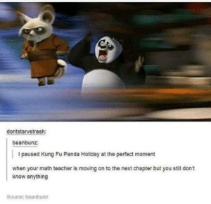 meirl by Vertigo_Past MORE MEMES: dontstarvetrash:  beanbunz:  I paused Kung Fu Panda Holiday at the perfect moment  when your math teacher is moving on to the next chapter but you still don't  know anything  Source: beanbunz meirl by Vertigo_Past MORE MEMES