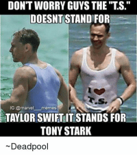 "Showin love for the stark! ~ Poison Ivy #GothamCityMemes: DONTWORRY GUYS THE TTS.""  DOESNT STANDIFOR  IG: memes  @marvel TAYLOR SWIFTITSTANDSFOR  TONY STARK  Deadpool Showin love for the stark! ~ Poison Ivy #GothamCityMemes"