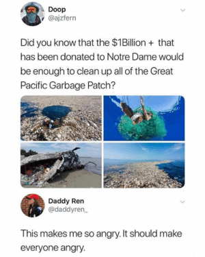 Think about the turtles: Doop  @ajzfern  Did you know that the $1Billion that  has been donated to Notre Dame would  be enough to clean up all of the Great  Pacific Garbage Patch?  Daddy Ren  @daddyren  This makes me so angry. It should make  everyone angry. Think about the turtles