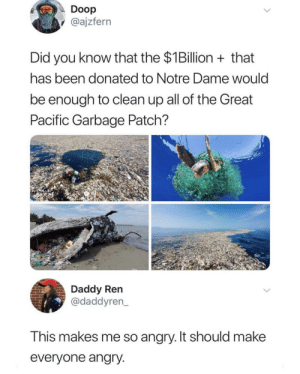 Wow: Doop  @ajzfern  Did you know that the $1Billion that  has been donated to Notre Dame would  be enough to clean up all of the Great  Pacific Garbage Patch?  Daddy Ren  @daddyren  This makes me so angry. It should makee  everyone angry Wow