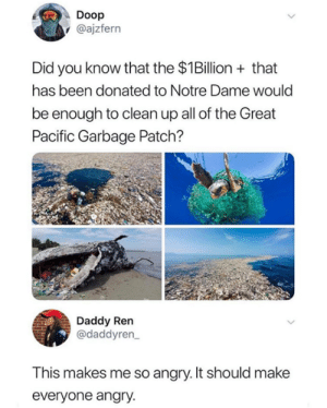 This makes me upset.: Doop  @ajzfern  Did you know that the $1Billion+that  has been donated to Notre Dame would  be enough to clean up all of the Great  Pacific Garbage Patch?  Daddy Ren  @daddyren  This makes me so angry. It should make  everyone angry. This makes me upset.