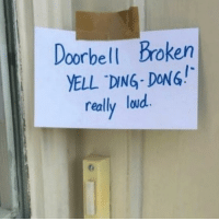 ding dong: Doorbell Broken  YELL DING DONG!  really loud