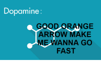 Gotta go fast: Dopamine:  GOOD ORANGE  ARROW MAKE  ME WANNA GO  FAST Gotta go fast