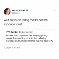 my disordered eating habits are coming back so bad djjdsjisk and I force myself to eat stuff that goes against them to prove that I'm okay but I end up hating myself: Doree Shafrir  @doree  wait so you're telling me it's not the  avocado toast  NYT Opinion e》 @nytop.n.on  Student loan payments are keeping young  people from getting on with life, delaying  marriage and homeownership nyti.ms/2pWRuYE  22/5/17, 3:14 am my disordered eating habits are coming back so bad djjdsjisk and I force myself to eat stuff that goes against them to prove that I'm okay but I end up hating myself