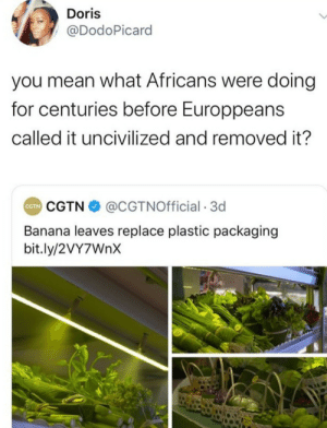 plastic: Doris  @DodoPicard  you mean what Africans were doing  for centuries before Europpeans  called it uncivilized and removed it?  CGTN O @CGTNOfficial · 3d  CTN  Banana leaves replace plastic packaging  bit.ly/2VY7WNX