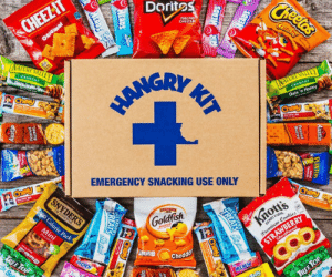novelty-gift-ideas:  Emergency Snack Kit: Doritos  CHEE  ATTE  EMERGENCY SNACKING USE ONLY  Goldfish  Chedd novelty-gift-ideas:  Emergency Snack Kit