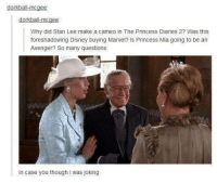 princess diaries: dorkball-mcgee  dorkball-mcgee  Why did Stan Lee make a cameo in The Princess Diaries 2? Was this  foreshadowing Disney buying Marvel? Is Princess Mia going to be an  Avenger? So many questions  In case you though I was joking