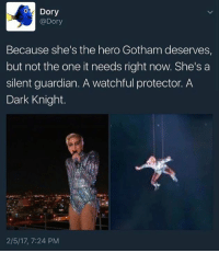 Stop it! 😂😂: Dory  @Dory  Because she's the hero Gotham deserves,  but not the one it needs right now. She's a  silent guardian. A watchful protector. A  Dark Knight.  2/5/17, 7:24 PM Stop it! 😂😂