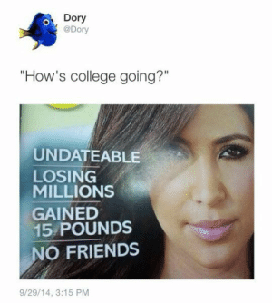"College, Friends, and Tumblr: Dory  @Dory  ""How's college going?""  UNDATEABLE  LOSING  MILLIONS  GAINED  15 POUNDS  O FRIENDS  9/29/14, 3:15 PM If you are a student Follow @studentlifeproblems​"