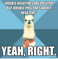 """Tumblr, Yeah, and Blog: DOUBLE NEGATIVES ARE POSITIVE  BUT DOUBLE POSITIVES ARENT  NEGATIVE""""  YEAH, RIGHT <p><a href=""""http://plein-de-vie.tumblr.com/post/3691490466/linguist-llama-i-figured-we-needed-one"""">plein-de-vie</a>:</p> <blockquote> <p>Linguist Llama!</p> <p>I figured we needed one.</p> </blockquote> <p>I went ahead and created a separate blog for it. I feel like someone else out there might have better jokes than myself. Use the submit feature!</p>"""