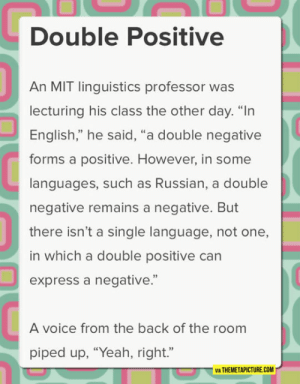 """laughoutloud-club:  Linguistic Lesson: Double Positive  An MIT linguistics professor was  lecturing his class the other day. """"In  English,"""" he said, """"a double negative  forms a positive. However, in some  languages, such as Russian, a double  negative remains a negative. But  there isn't a single language, not one,  in which a double positive can  express a negative.""""  92  A voice from the back of the room  piped up, """"Yeah, right.""""  VIA THEMETAPICTURE.COM laughoutloud-club:  Linguistic Lesson"""