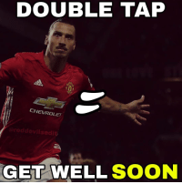 Memes, Manchester United, and Chevrolet: DOUBLE TAP  CHEVROLET  reddevilsedit,  GET WELL SOON Zlatan Ibrahimovic has been forced to completely sit out Manchester United's EFL Cup semi-final clash with Hull City due to illness, according to the club. 🙏I HOPE HE WILL BE BACK VS liverpool