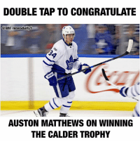 "NHLNEWS - Double tap to congratulate: Auston Matthews on winning the Calder Trophy as the NHL's best rookie! - Connor McDavid as the Ted Lindsay Award winner as the ""most outstanding player""! - Brent Burns for winning the Norris Trophy as the league's best defenseman.: DOUBLE TAP TO CONGRATULATE  @nhl newsdaily0  LEAF  AUSTON MATTHEWS ON WINNING  THE CALDER TROPHY NHLNEWS - Double tap to congratulate: Auston Matthews on winning the Calder Trophy as the NHL's best rookie! - Connor McDavid as the Ted Lindsay Award winner as the ""most outstanding player""! - Brent Burns for winning the Norris Trophy as the league's best defenseman."