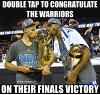 Double tap to congratulate the @Warriors! Please read below to hear my thoughts about the Finals. As an NBA meme page, I kinda have to hate on LeBron and Steph, but I actually really like them both as a person and as players. About Steph, he's a great guy off the court, and an amazing player on it. He's one of the best shooters and PG's ever. I'm happy for his victory. About LeBron, I've always liked LeBron. He's also a great, humble man off the court, and a complete monster on the court. He is undeniably one of the greatest to ever play. And this is coming from a die hard Lakers-Kobe fan. It's sad to see such a great player have his Finals record ruined. I hope people will remember him for his amazing play on the court in the future. And lastly about KD. Kevin Durant has always been a player I liked, and it was a complete shock when he came to the Warriors. It felt like a MyGM roster come to life. It was surreal. I'm glad he got his first title, but I feel as if he didn't really earn it as he came to a crazy super team last season. I'm happy for Steph, Klay, Draymond, KD, and the rest of the Warriors team. I'm just really devastated LeBron had to lose ANOTHER Final. People will look back on this Finals series and this will start arguments about how he will never be the greatest ever. It's a shame. If you're down here, thank you for reading all this! Now, time to hear YOUR thoughts. Comment what you think of this Finals! 👇🤔🏆 nbamemes nba_memes_24: DOUBLE TAP TO CONGRATULATE  THE WARRIORS  YOU ARE TH  GOLDEN STATE  TTAMPS  nba memes 24  ON THEIRFINALS VICTORY Double tap to congratulate the @Warriors! Please read below to hear my thoughts about the Finals. As an NBA meme page, I kinda have to hate on LeBron and Steph, but I actually really like them both as a person and as players. About Steph, he's a great guy off the court, and an amazing player on it. He's one of the best shooters and PG's ever. I'm happy for his victory. About LeBron, I've always liked LeBron. He's also a great, humble man off the court, and a complete monster on the court. He is undeniably one of the greatest to ever play. And this is coming from a die hard Lakers-Kobe fan. It's sad to see such a great player have his Finals record ruined. I hope people will remember him for his amazing play on the court in the future. And lastly about KD. Kevin Durant has always been a player I liked, and it was a complete shock when he came to the Warriors. It felt like a MyGM roster come to life. It was surreal. I'm glad he got his first title, but I feel as if he didn't really earn it as he came to a crazy super team last season. I'm happy for Steph, Klay, Draymond, KD, and the rest of the Warriors team. I'm just really devastated LeBron had to lose ANOTHER Final. People will look back on this Finals series and this will start arguments about how he will never be the greatest ever. It's a shame. If you're down here, thank you for reading all this! Now, time to hear YOUR thoughts. Comment what you think of this Finals! 👇🤔🏆 nbamemes nba_memes_24