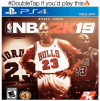 Frozen, Memes, and Michael Jordan:  #DoubleTap if you'd play this  FROZEN_GRAFX  MICHAEL JORDAN  BA 1  NBA  EVERYONE 10+  ESRB Rate this cover 1-10🔥