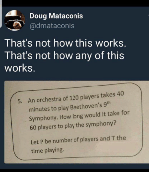 Not How: Doug Mataconis  @dmataconis  That's not how this works.  That's not how any of this  works.  An orchestra of 120 players takes 40  5.  minutes to play Beethoven's 9th  Symphony. How long would it take for  60 players to play the symphony?  Let P be number of players and T the  time playing.