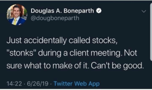 "Me_irl: Douglas A. Boneparth  @dougboneparth  Just accidentally called stocks,  ""stonks"" during a client meeting. Not  sure what to make of it. Can't be good.  14:22 6/26/19 Twitter Web App Me_irl"