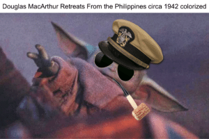 History, Philippines, and Douglas MacArthur: Douglas MacArthur Retreats From the Philippines circa 1942 colorized Heartbreaking