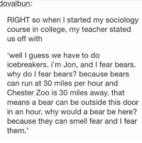 College, Memes, and Run: dovalbun:  RIGHT so when I started my sociology  course in college, my teacher stated  us off with  'well I guess we have to do  icebreakers. i'm Jon, and I fear bears.  why do I fear bears? because bears  can run at 30 miles per hour and  Chester Zoo is 30 miles away. that  means a bear can be outside this door  in an hour. why would a bear be here?  because they can smell fear and I fear  them. I fear bears