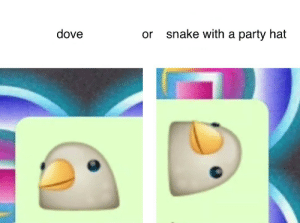 Dove: dove  snake with a party hat  or