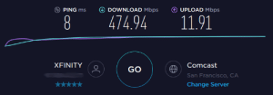 Comcast, San Francisco, and Xfinity: DOWNLOAD Mbps  PING ms  UPLOAD Mbps  11.91  8  474.94  XFINITY  Comcast  GO  San Francisco, CA  Change Server Got a small speed upgrade from the ISP