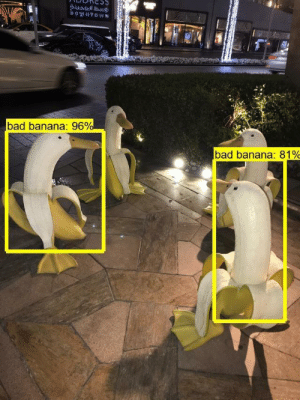 Bad, Banana, and Mine: DOwNTOWN  bad banana: 96%  bad banana: 81% So a friend of mine was working on an OpenCV/ML project to identify fruits and determine if they're safe to eat. I suggested they try out some edge cases.
