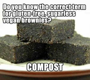srsfunny:Gluten-Free Vegan Brownies: Doyou know the correct term  for glutensree,sugarless  egan brownieS  COMPOST srsfunny:Gluten-Free Vegan Brownies