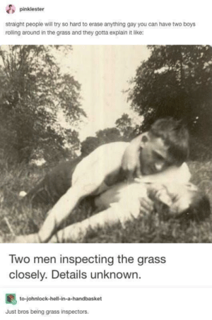 Hell, Boys, and Gay: dpinklester  straight people will try so hard to erase anything gay you can have two boys  rolling around in the grass and they gotta explain it like  Two men inspecting the grass  closely. Details unknown.  to-johnlock-hell-in-a-handbasket  Just bros being grass inspectors 🎶Two bros, chilling in a grass shrub🎶